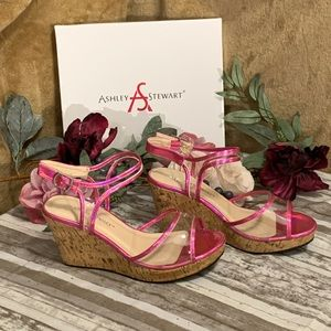 🔥Wedge • Lucite Sandals • Hot Pink! 9W